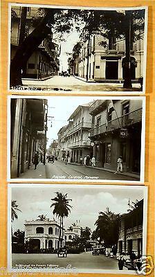 3 Photo Postcards Panama City Panama Company Lottery Building Street Scenes 1931