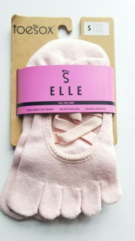 Toesox Elle Yoga Socks - Full Toe Grip - Organic Cotton - Pink Small NEW