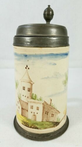 18th - 19th Century Pewter Mounted German Faience Tankard Castle Scene