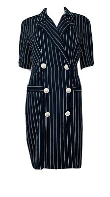 Vtg Young Edwardian Black Railroad Stripe Double Breast Shirt Dress Career Sz L