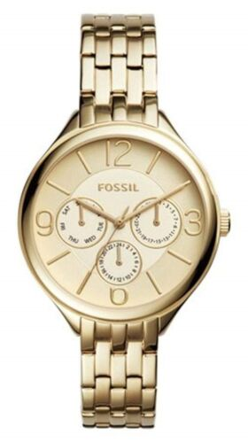 Fossil Suitor Multifunction Champagne Gold Dial Gold Steel W