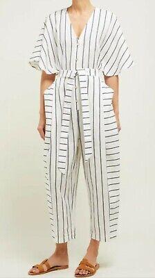 Women's Jumpsuit Palmer Harding White Blue Stripes Size 4/6