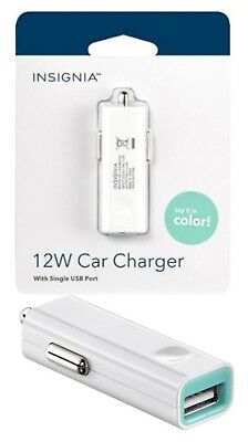 NEW Insignia 12W USB Car Charger White Cell Phone Universal