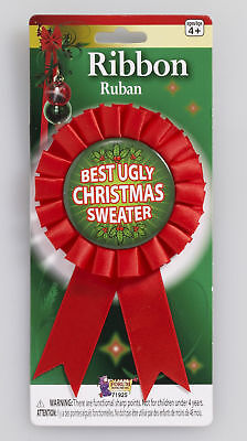 Best Ugly Christmas Sweater Award Ribbon Pin Party Gift Ugliest Accessory