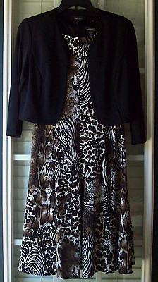 R & M Richards Multi-Color Animal Print Midi A-Line Sleeveless Dress w/Bolero -4