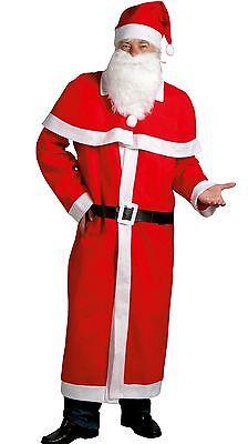 XXL Weihnachtsmann Kostüm Uni-Größe Mütze Bart Mantel Gürtel Umhang Nikolaus NEU