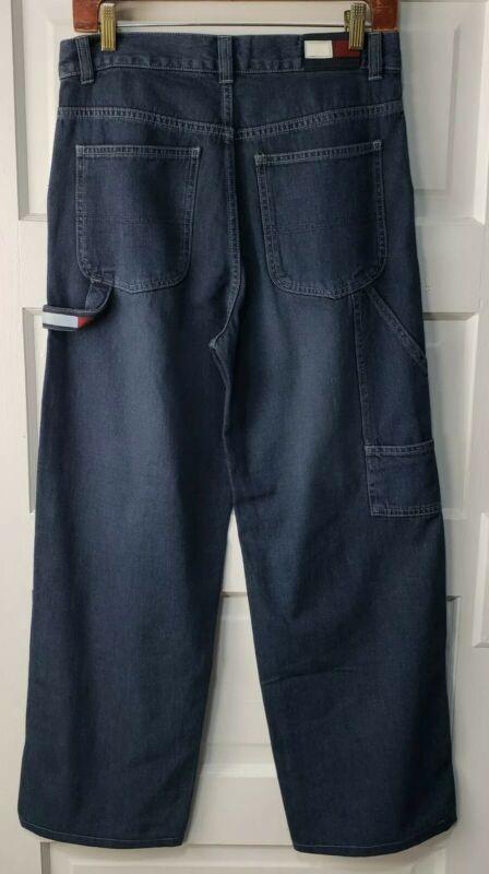 Tommy Hilfiger Boys Sz 18 Jeans Dark Blue Denim 90s Look Carpenter 30x27