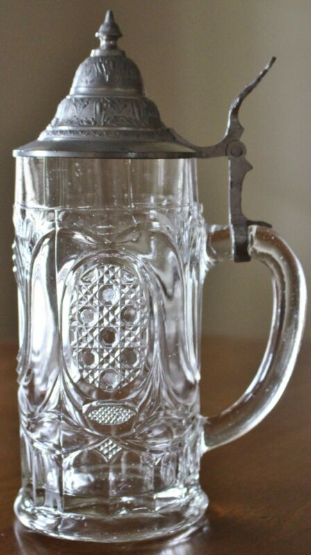 BEER STEIN  August Walther glass pewter Germany Lidded Sachsische CROWN vintage