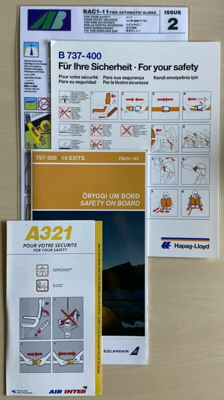 Airline Safety Cards (Set of 4)