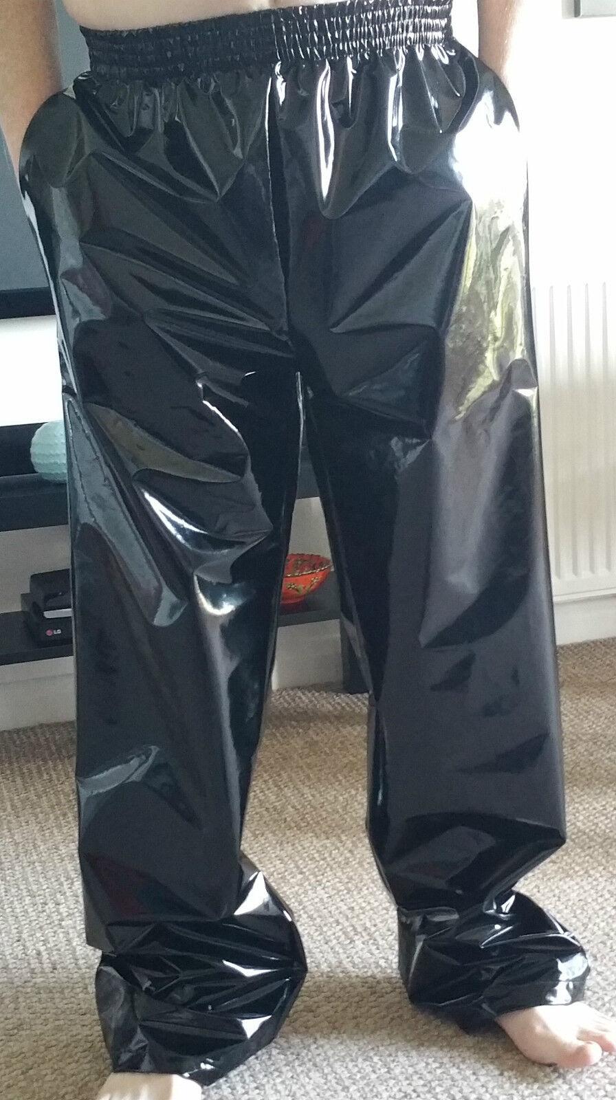 PVC Jogginghose Hose S 4XL Einfarbig Schwarz mit Taschen