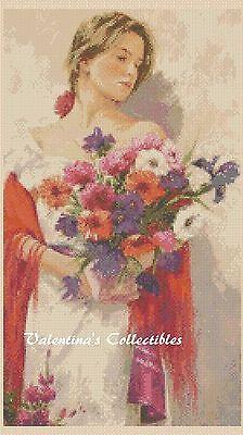 Flower Lady Counted Cross Stitch Chart No.1-320