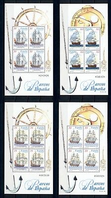 Sailing Ships Boats Sea Transport Spain MNH stamp set 4 sheets for sale  Shipping to India