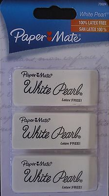 Papermate White Pearl Erasers 3 Pack Eraser Latex Free Pencil Mark Removers