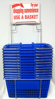 12 Blue Hand-held Shopping Baskets With Rack Metal Handles With Sign - Nos