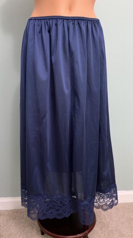 Vtg Midnight Blue Nylon Half Slip Shiny Slippery Lace Hem 2X 3X