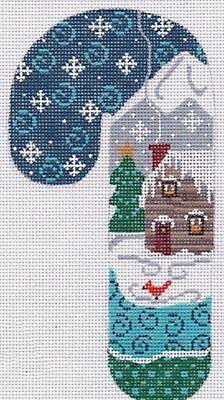 (NEEDLEPOINT Handpainted CHRISTMAS Candy Cane Danji LOG Cabin Ornament )