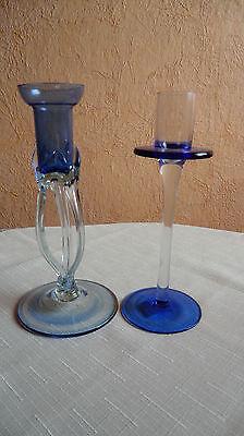 kerzenständer Glas blau 17 und 18 cm hoch Sammlerstücke
