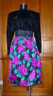 80s Dresses | Casual to Party Dresses VTG 80s Donna Morgan Black Velvet Floral Taffeta Evening Holiday Party DRESS $44.80 AT vintagedancer.com