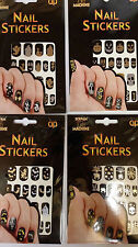 Halloween Stick on Nails Metallic Black Silver Gold ...