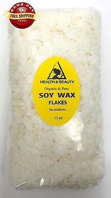 SOY WAX FLAKES ORGANIC VEGAN by H&B Oils Center AKOSOY FOR CANDLE PURE 12 OZ Candles Organic Soy Wax