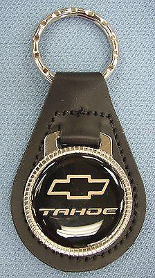 Vintage Black Chevy BOW TIE Mini Steering Wheel Black Leather Keyring Key Fob