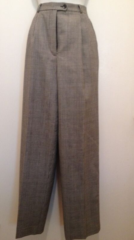 Talbots Ladies Black and White Plaid 100% Wool Pants Size 10 Preowned