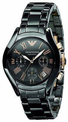 ** NEW **Emporio Armani® watch AR1411 Ladies Black with Gold adds Ceramica