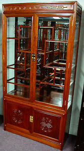 Exotic Solid Rosewood Display Curio Cabinet, Chinese Oriental Asian Furniture