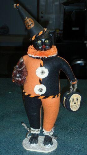 "LARGE 20"" Bethany Lowe Halloween Cat Figurine With Christmas Tree - VERY RARE!"