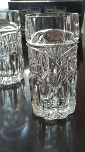 4 HI-BALL / WHISKEY GLASS SET, LEAD CRYSTAL, ORIG. BOX, TAGS, EURO COLLECTION