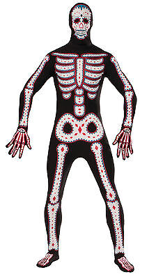 Day of the Dead Disappearing Man Skin Tight Halloween Fancy Dress Costume - Skin Tight Halloween Costumes