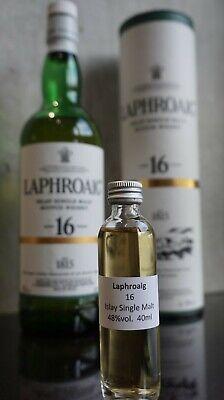 Laphroaig 16 Years Old Islay Whisky Sample 40 ml Probe Dram Single Malt 4 cl
