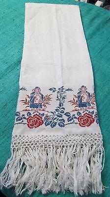 Antique Linen Damask Fringed Show Towel Red & Blue Pilgrim Ladies Jacquard