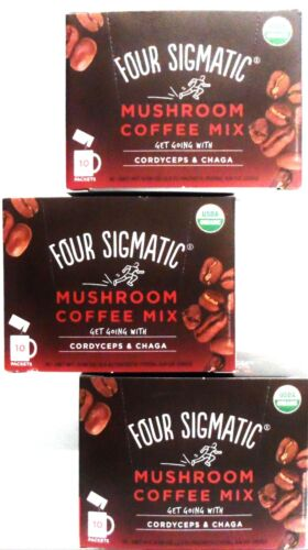 exp. 2022 FOUR SIGMATIC ORGANIC MUSHROOM COFFEE MIX WITH CORDYCEPS & CHAGA 10CT