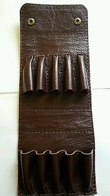 (.22 hornet/ 17HMR/17 Hornet. Holds 10.  Bullet wallet. Brown real leather/ studs)