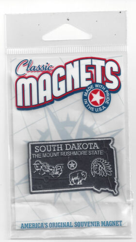 """SOUTH DAKOTA """" THE MOUNT RUSHMORE STATE""""  OUTLINE MAP MAGNET in Souvenir Bag,NEW"""