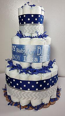3 Tier Diaper Cake Blue Silver Chevron It's a Boy Baby Shower Centerpiece