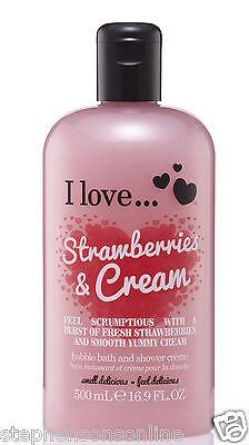 I Love... Strawberries & Cream Bubble Bath And Shower Creme 500ml