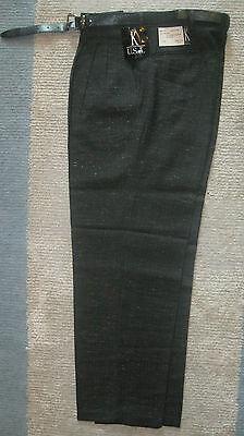Mens pants Dress Slacks Charcoal Grey 30 32 34  x 30 32  K USA NEW  Belt * Grey Polyester Mens Dress Pants
