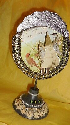 Fly High Mixed Media Assemblage OOAK Art Dimensional Pop Out  Rhinestones