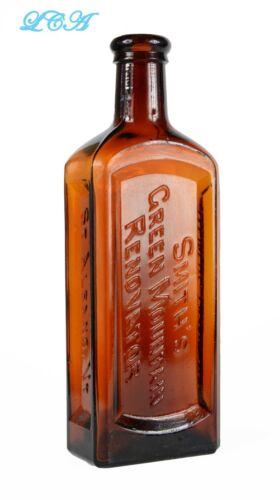 BIG BOLD amber antique GREEN MOUNTAIN RENOVATOR patent medicine bottle OLD bim