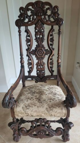 Antique Renaissance Revival High Back Throne Chair