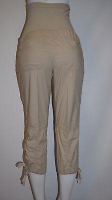 Oh Baby MOTHERHOOD KHAKI Poplin Chino Maternity Crop CAPRI Pants SMALL S (4-6)