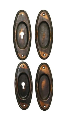 Set of Traditional Japanned Finish Steel Pocket Door Plates