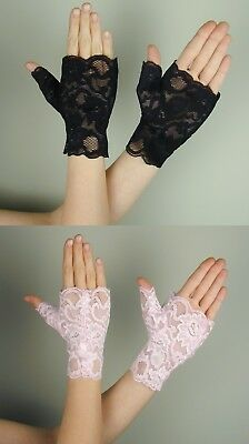 Wrist Length LACE FINGERLESS Gloves BLACK or BABY PINK](Pink Lace Gloves)