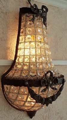 (Hallway 1 Light Antique Replica Bronze Crystal French Empire Basket Wall Sconce)