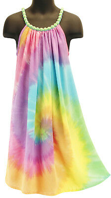 Girls Pastel Rainbow Tie Dye Beaded Princess Dress Summer NEW Girls 4 6 8 10