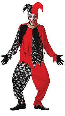 Mens Adult Evil Jester Scary Joker Clown Fool Halloween Costume Outfit - Scary Joker Costume