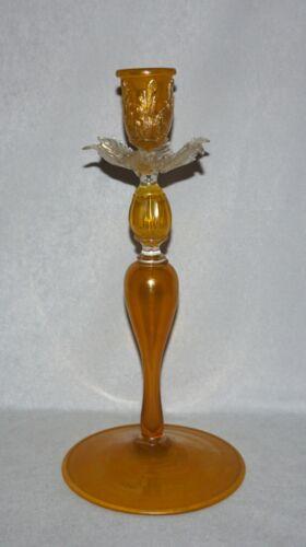 "Venetian Murano Art Glass 12"" Candlestick/Candle Holder, Leaf Bobeche, Salviati"