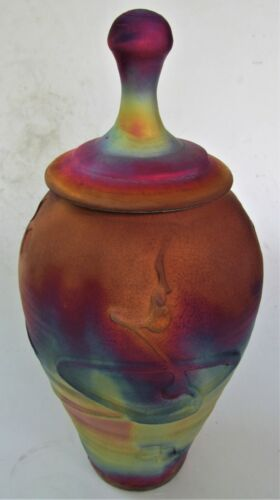Kerry Gonzalez Copper Raku Tall Cremation  Urn Jar Studio  Art Pottery